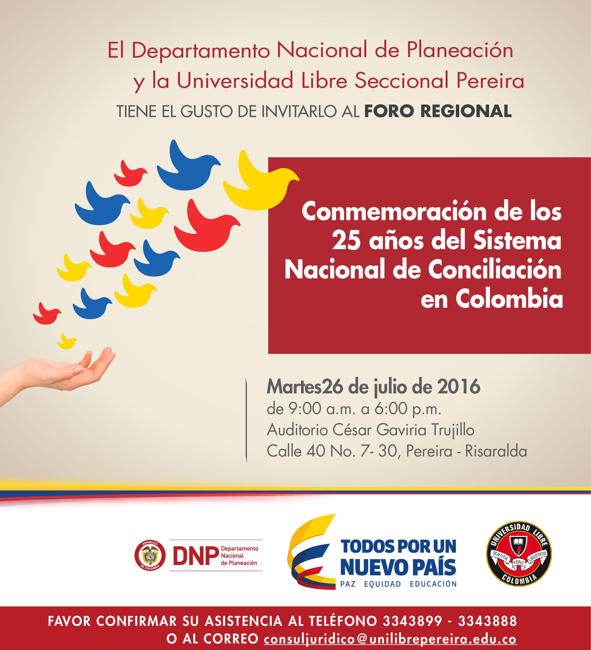 Foro Regional de los 25 años del SNC en Pereira -entradalibre-