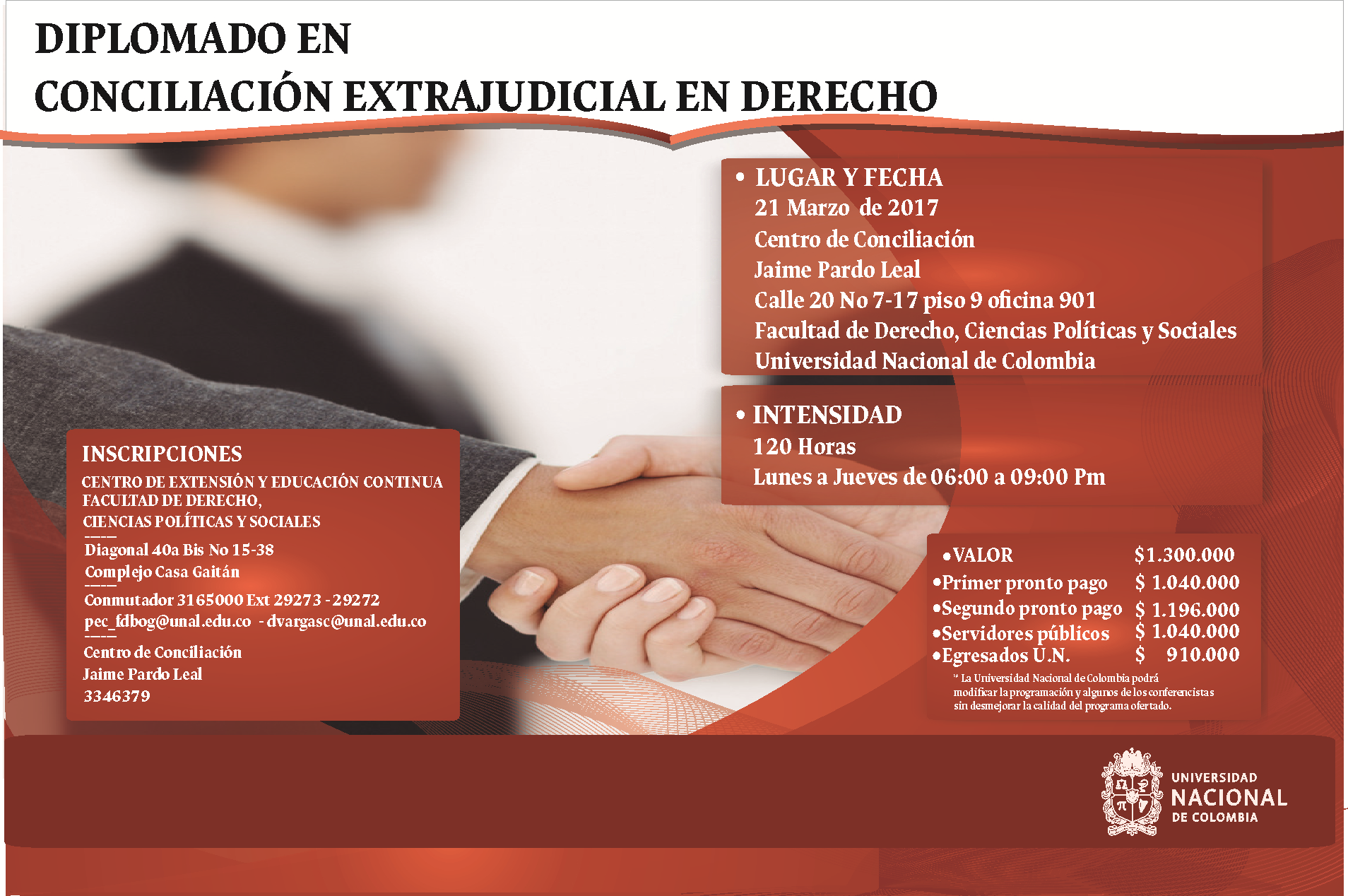 Diplomado en Conciliación en Derecho de la Universidad Nacional deColombia